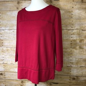 Chico's Red 3/4 Sleeve Blouse Sz 2